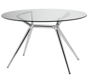 Rundt-Spisebord-Glas-og-Krom