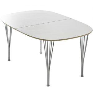 Living&more Morgan - hvidt spisebord med ben i krom