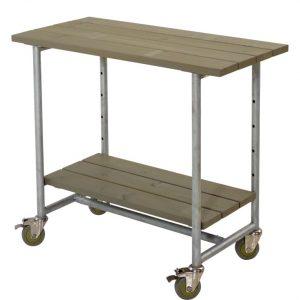 Plus Urban grillbord med 1 hylde, planker i grundmalet grabrun