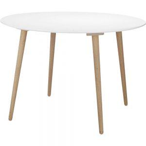 rundt hvidt spisebord med udtræk
