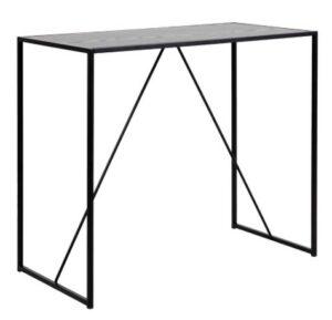 Seaford barbord, sort melamin ask/metal, rektangulær (120x60) - Barbord i storbystil