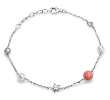 Blossom Sølvarmbånd med Perler og Koral