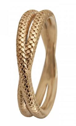 Christina Twin Snake Ring i Forgyldt Sølv