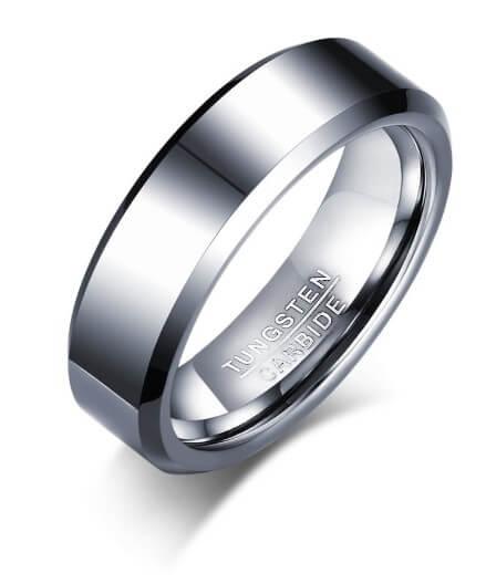 Tungstenring til mænd i sølv