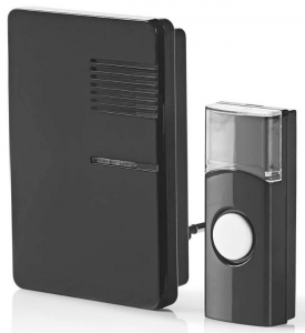 230V – Trådløst Dørklokkesæt – sort – 70 dB – Anonymt design