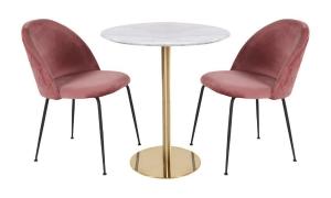 Bolzano Spisebord Hvid Ø110 med 2 x Geneve Spisebordsstol Rosa