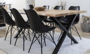 Toulon Spisebord Natur 200cm med 6 x Oslo Spisestole sort