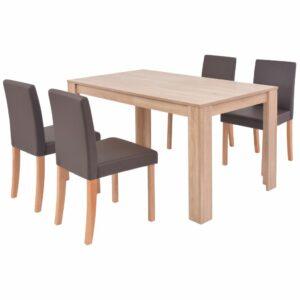 VidaXL– Et tidløst og moderne spisebordssæt med 4 stole