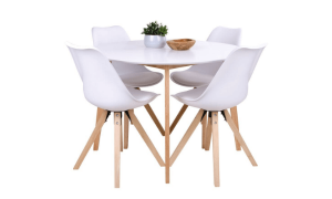 Vojens rund Spisebord Hvid med 4 x Bergen Spisebordsstol Hvid