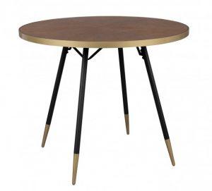 Homii Denise spisebord – Gyldent bord af valnød og jern