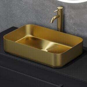 Fritstående designerhåndvask i messing